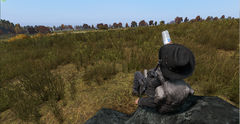 Dinking a cold one while watching the firefight in Vibor Military go gown.