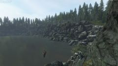 Cliff jumping into Black Lake